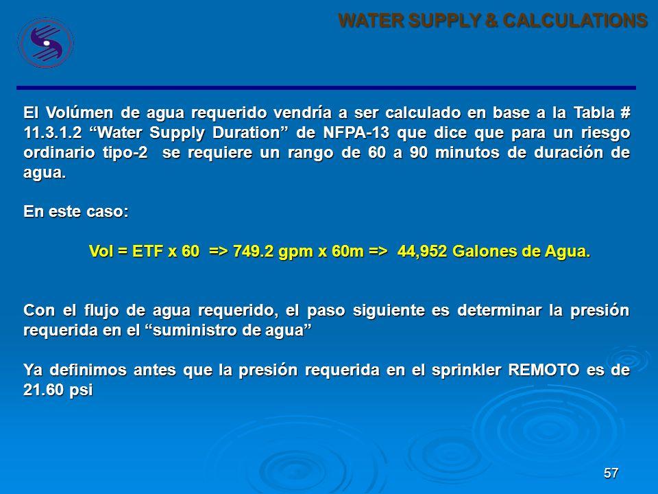 57 WATER SUPPLY & CALCULATIONS El Volúmen de agua requerido vendría a ser calculado en base a la Tabla # 11.3.1.2 Water Supply Duration de NFPA-13 que dice que para un riesgo ordinario tipo-2 se requiere un rango de 60 a 90 minutos de duración de agua.