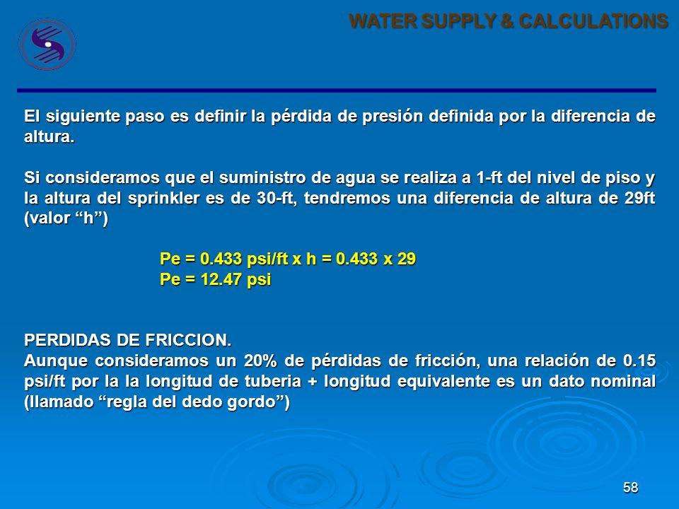 58 WATER SUPPLY & CALCULATIONS El siguiente paso es definir la pérdida de presión definida por la diferencia de altura.