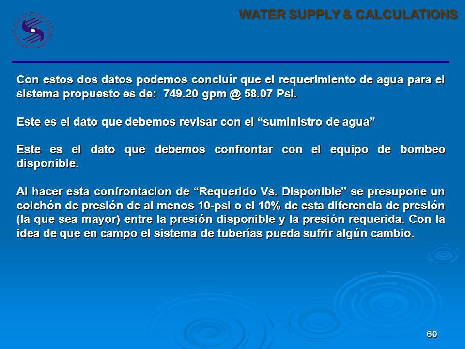 60 WATER SUPPLY & CALCULATIONS Con estos dos datos podemos concluír que el requerimiento de agua para el sistema propuesto es de: 749.20 gpm @ 58.07 Psi.