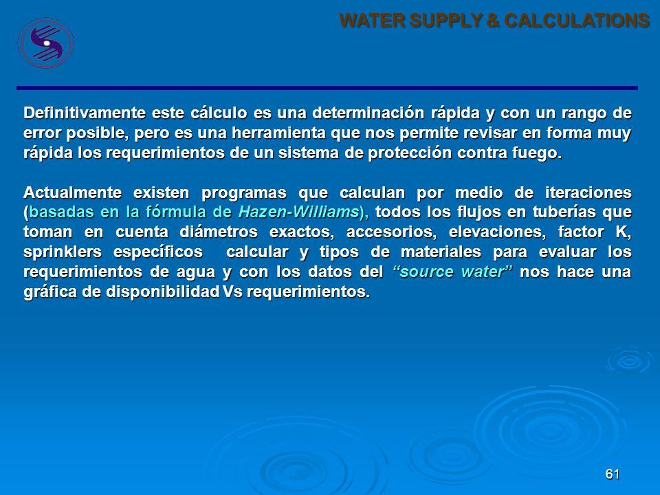 60 WATER SUPPLY & CALCULATIONS Con estos dos datos podemos concluír que el requerimiento de agua para el sistema propuesto es de: 749.20 gpm @ 58.07 P