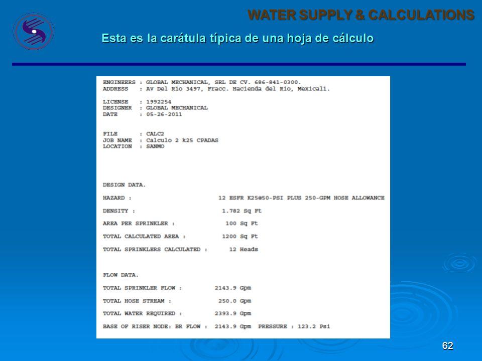 62 WATER SUPPLY & CALCULATIONS Esta es la carátula típica de una hoja de cálculo