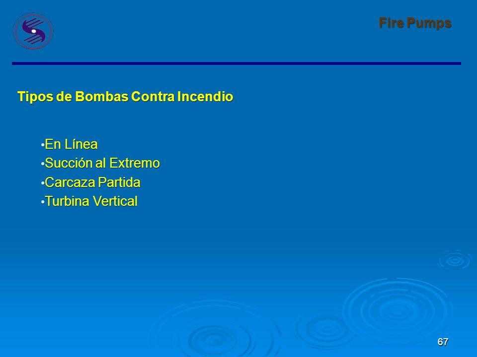66 Fire Pumps Los equipos de Bombeo para Proteccion Contra Incendio deben ser revisados de acuerdo al código NFPA-20 Installation of Stationary Pumps