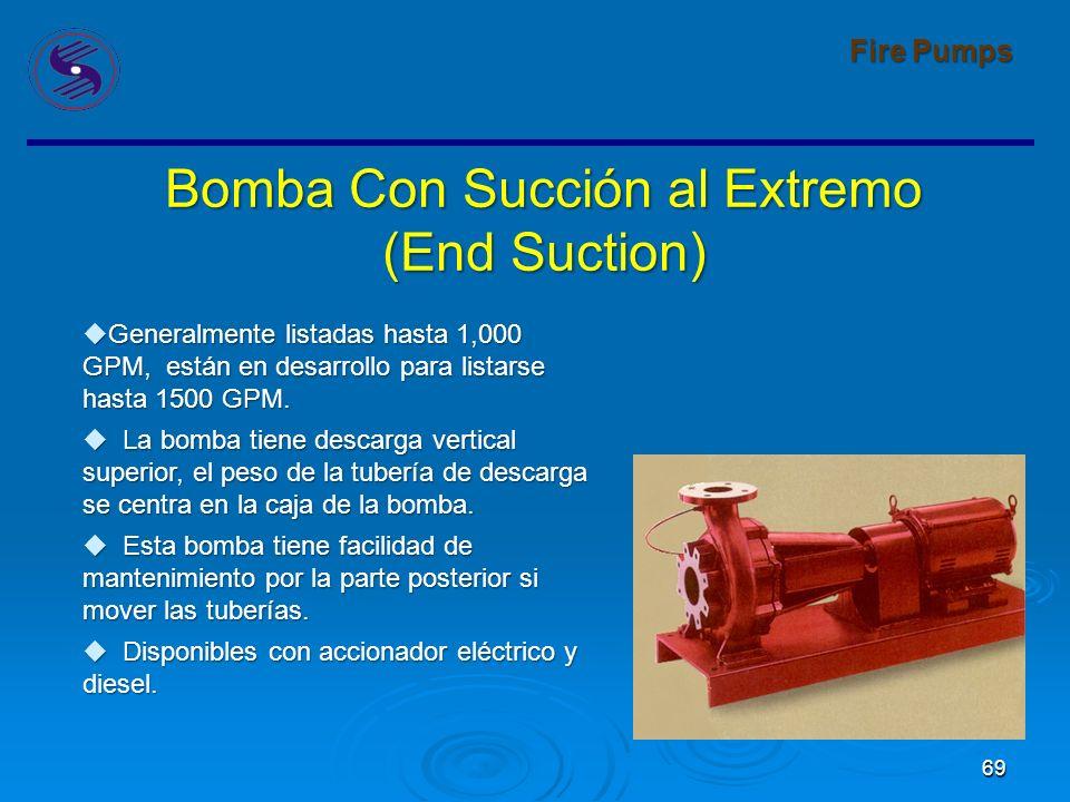 69 Fire Pumps Bomba Con Succión al Extremo (End Suction) Generalmente listadas hasta 1,000 GPM, están en desarrollo para listarse hasta 1500 GPM.