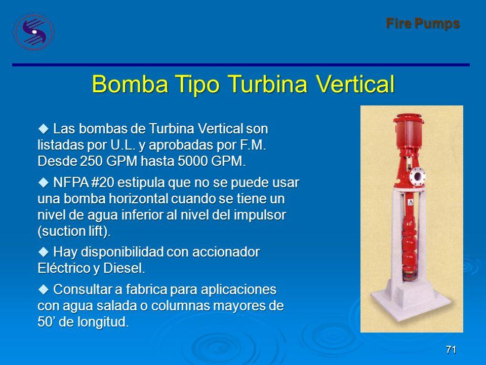 71 Fire Pumps Bomba Tipo Turbina Vertical Las bombas de Turbina Vertical son listadas por U.L.