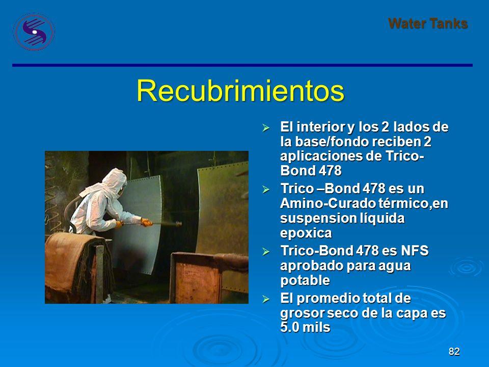 82 Water Tanks Recubrimientos El interior y los 2 lados de la base/fondo reciben 2 aplicaciones de Trico- Bond 478 El interior y los 2 lados de la base/fondo reciben 2 aplicaciones de Trico- Bond 478 Trico –Bond 478 es un Amino-Curado térmico,en suspension líquida epoxica Trico –Bond 478 es un Amino-Curado térmico,en suspension líquida epoxica Trico-Bond 478 es NFS aprobado para agua potable Trico-Bond 478 es NFS aprobado para agua potable El promedio total de grosor seco de la capa es 5.0 mils El promedio total de grosor seco de la capa es 5.0 mils