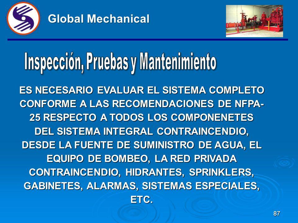 87 Global Mechanical ES NECESARIO EVALUAR EL SISTEMA COMPLETO CONFORME A LAS RECOMENDACIONES DE NFPA- 25 RESPECTO A TODOS LOS COMPONENETES DEL SISTEMA INTEGRAL CONTRAINCENDIO, DESDE LA FUENTE DE SUMINISTRO DE AGUA, EL EQUIPO DE BOMBEO, LA RED PRIVADA CONTRAINCENDIO, HIDRANTES, SPRINKLERS, GABINETES, ALARMAS, SISTEMAS ESPECIALES, ETC.
