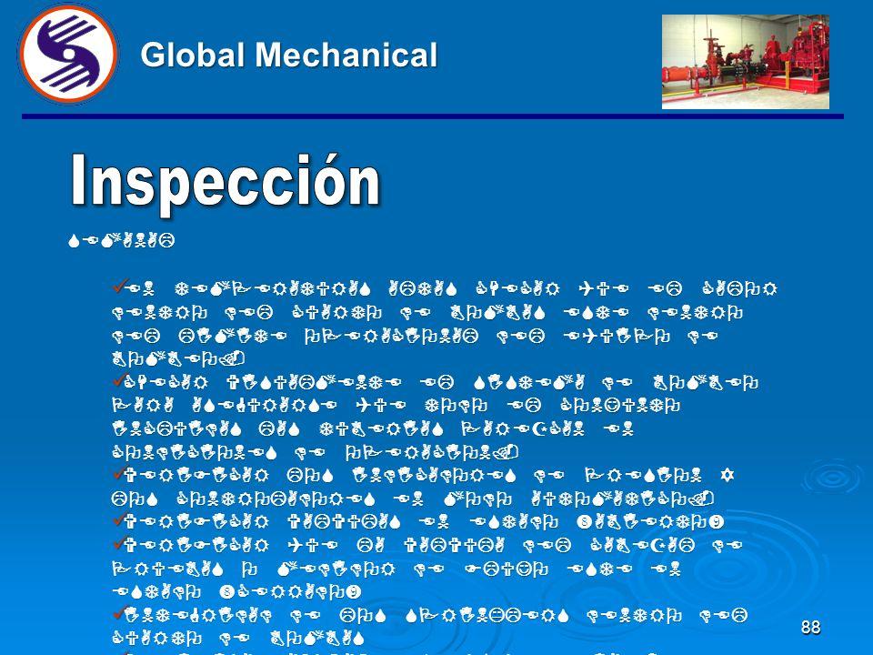 88 Global Mechanical SEMANAL EN TEMPERATURAS ALTAS CHECAR QUE EL CALOR DENTRO DEL CUARTO DE BOMBAS ESTE DENTRO DEL LIMITE OPERACIONAL DEL EQUIPO DE BOMBEO.