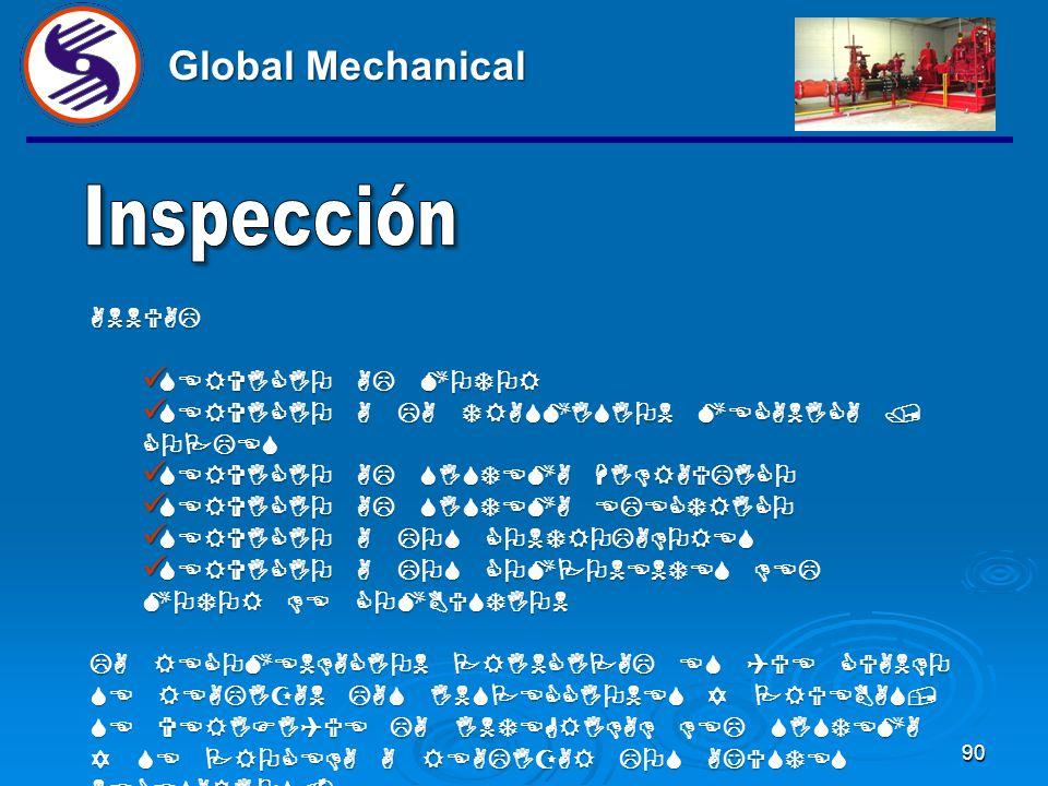 89 Global Mechanical SEMANAL VERIFICAR LA BOMBA EN OPERACION VERIFICAR LA BOMBA EN OPERACION CHECAR EMPAQUES EN BUEN ESTADO Y EL SISTEMA DE ENFRIAMEIN