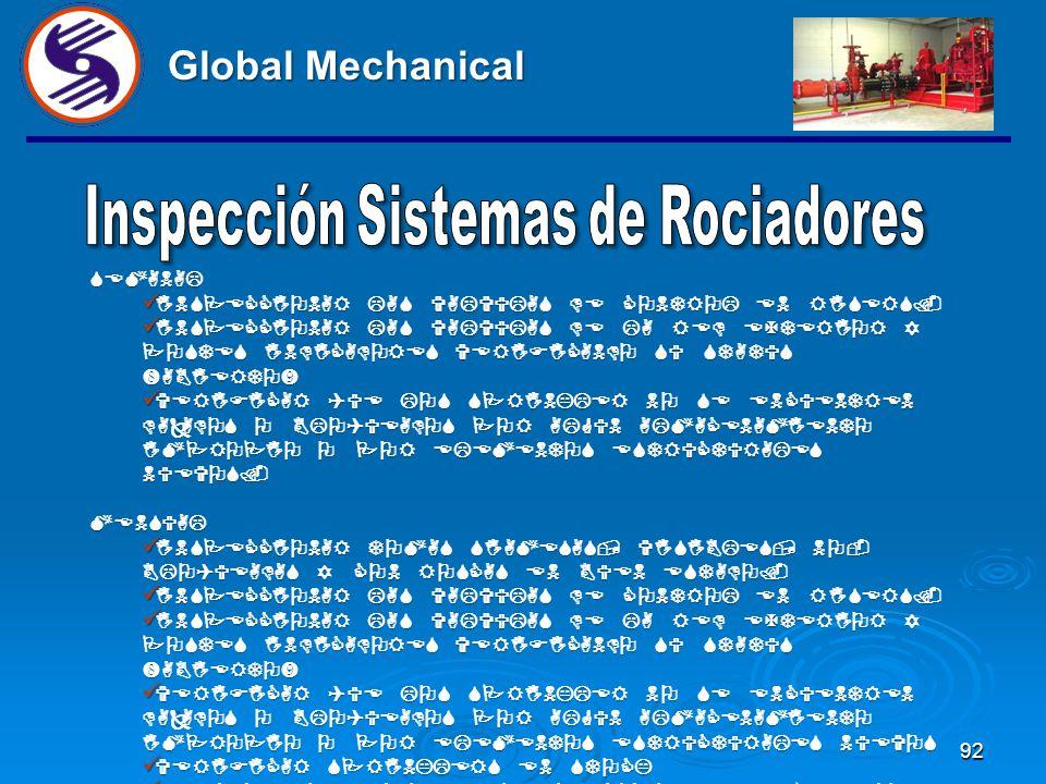 91 Global Mechanical PARA UN SISTEMA DE SPRINKLERS, LAS INSPECCIONES SON EXAMENES VISUALES VERIFICANDO SU INTEGRIDAD Y QUE APAREZCA BAJO CONDICIONES D