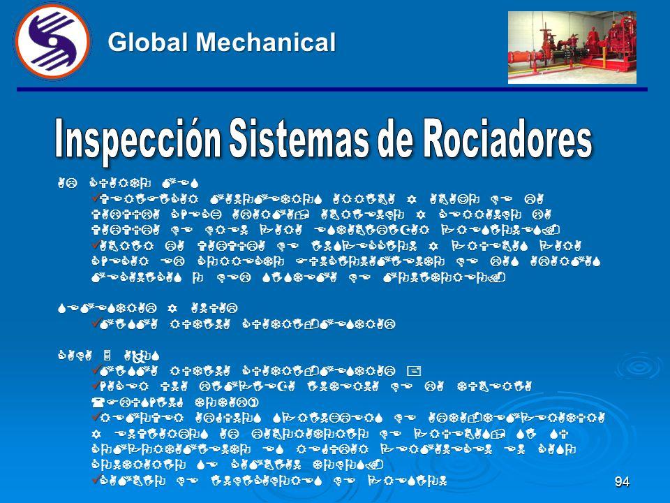 93 Global Mechanical AL CUARTO MES MISMA RUTINA MENSUAL + VERIFICAR SEÑALAMIENTOS EN TODO EL SISTEMA, COMO EL RISER, VALVULAS DE PRUEBA, GABINETES, EX