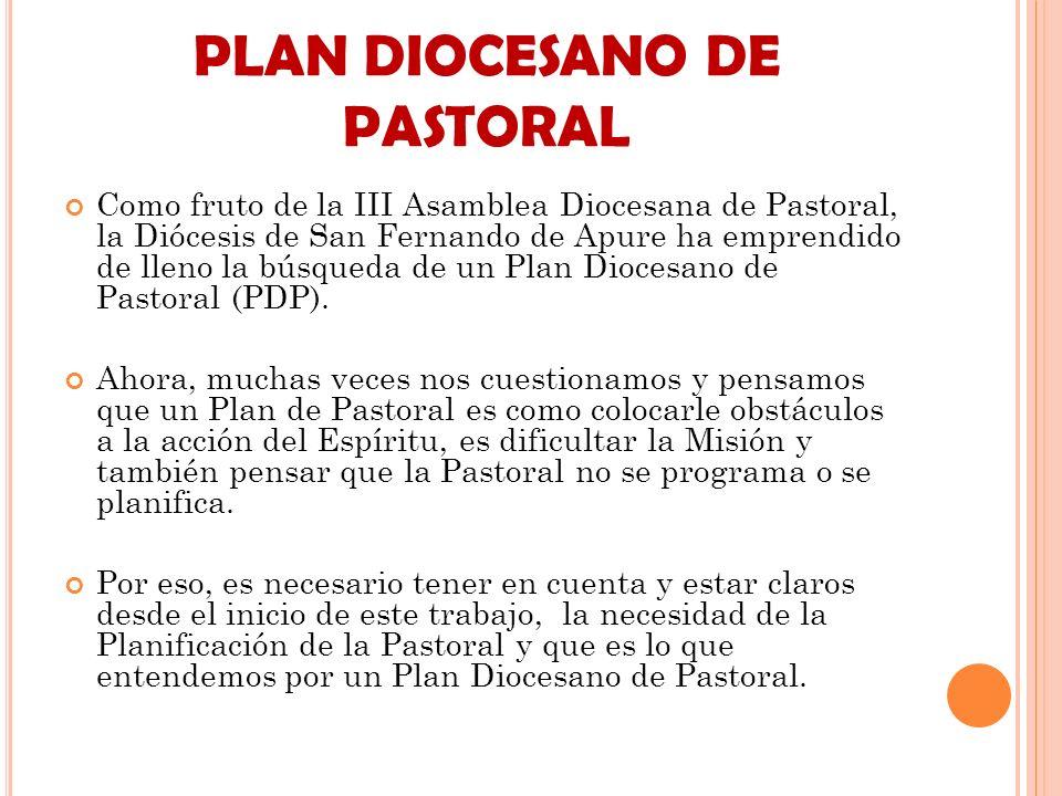 PLAN DIOCESANO DE PASTORAL Como fruto de la III Asamblea Diocesana de Pastoral, la Diócesis de San Fernando de Apure ha emprendido de lleno la búsqued