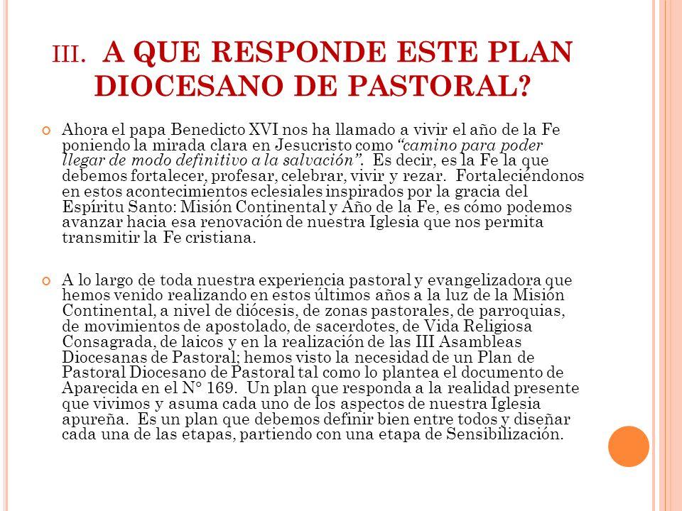 III. A QUE RESPONDE ESTE PLAN DIOCESANO DE PASTORAL? Ahora el papa Benedicto XVI nos ha llamado a vivir el año de la Fe poniendo la mirada clara en Je
