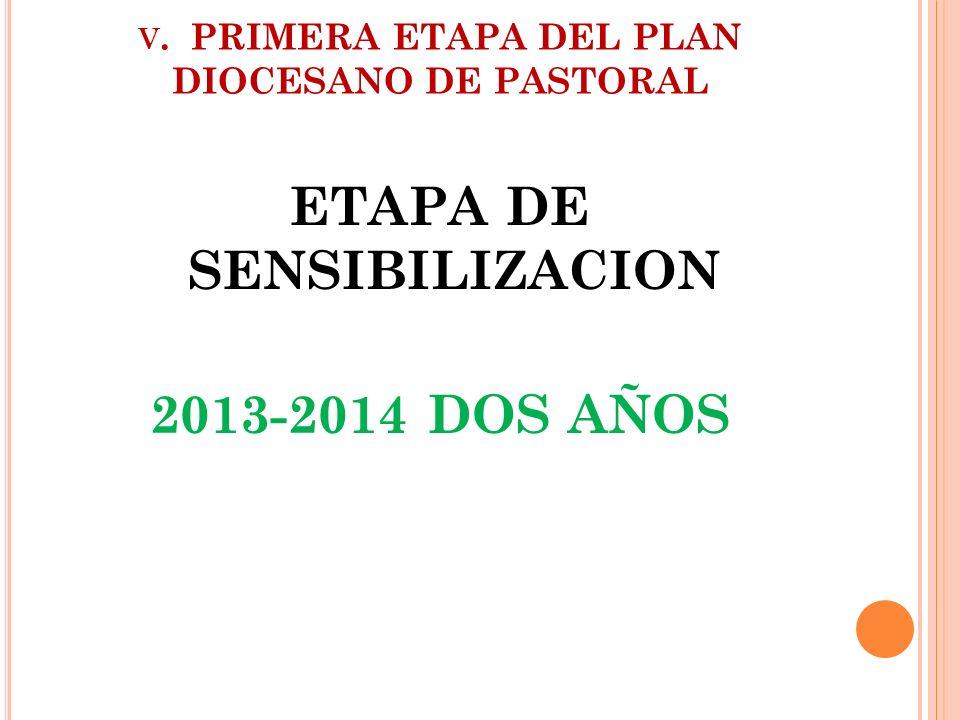 V. PRIMERA ETAPA DEL PLAN DIOCESANO DE PASTORAL ETAPA DE SENSIBILIZACION 2013-2014 DOS AÑOS