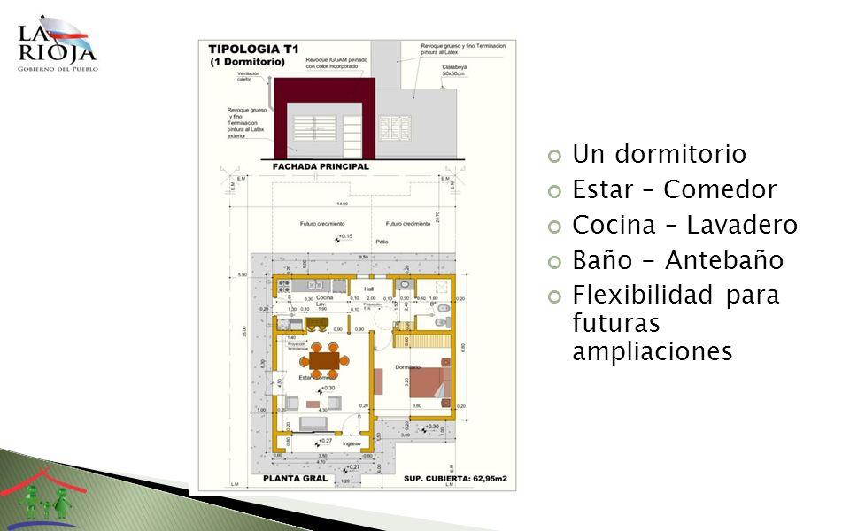 Un dormitorio Estar – Comedor Cocina – Lavadero Baño - Antebaño Flexibilidad para futuras ampliaciones
