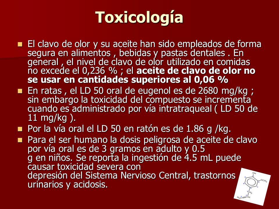 Toxicología El clavo de olor y su aceite han sido empleados de forma segura en alimentos, bebidas y pastas dentales. En general, el nivel de clavo de