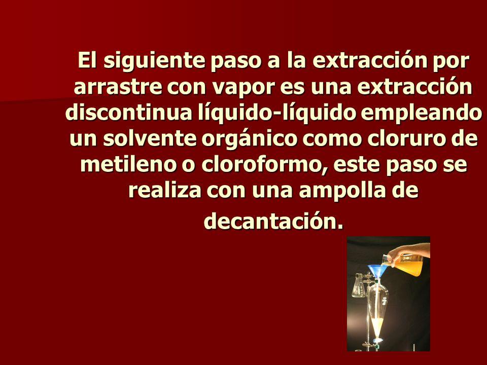 El siguiente paso a la extracción por arrastre con vapor es una extracción discontinua líquido-líquido empleando un solvente orgánico como cloruro de