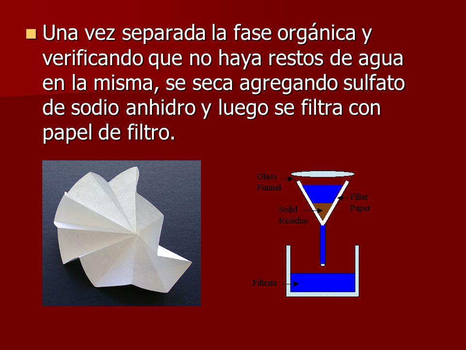 Una vez separada la fase orgánica y verificando que no haya restos de agua en la misma, se seca agregando sulfato de sodio anhidro y luego se filtra c