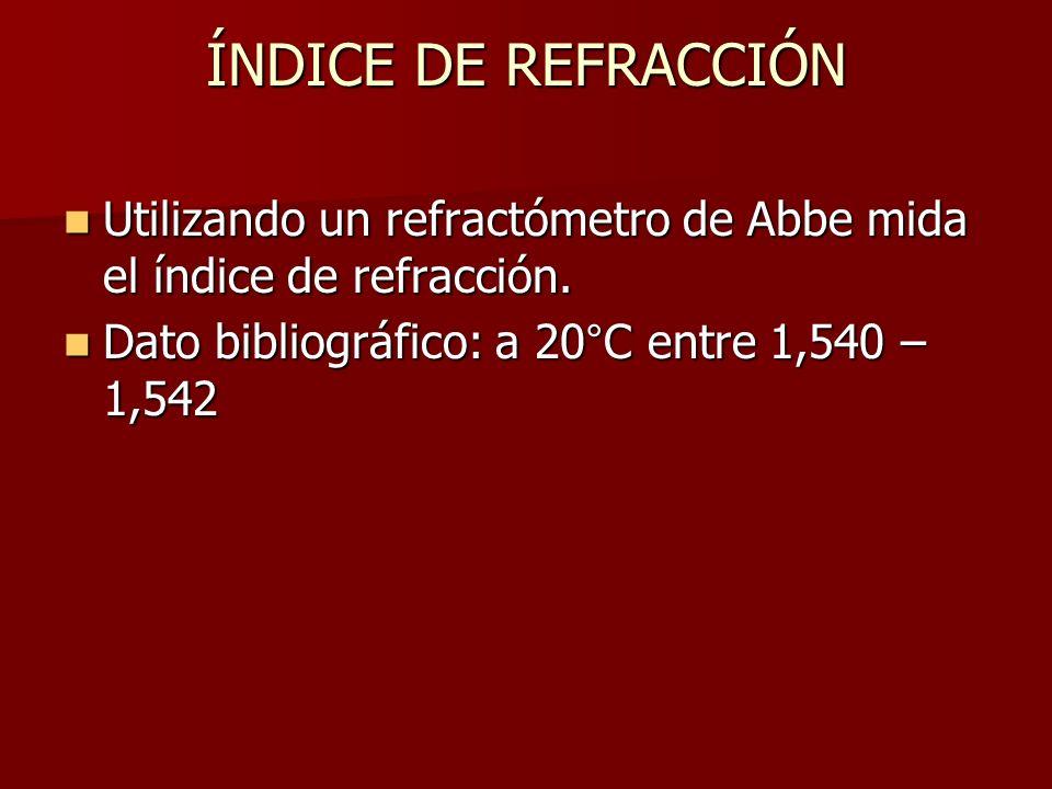 ÍNDICE DE REFRACCIÓN Utilizando un refractómetro de Abbe mida el índice de refracción. Utilizando un refractómetro de Abbe mida el índice de refracció