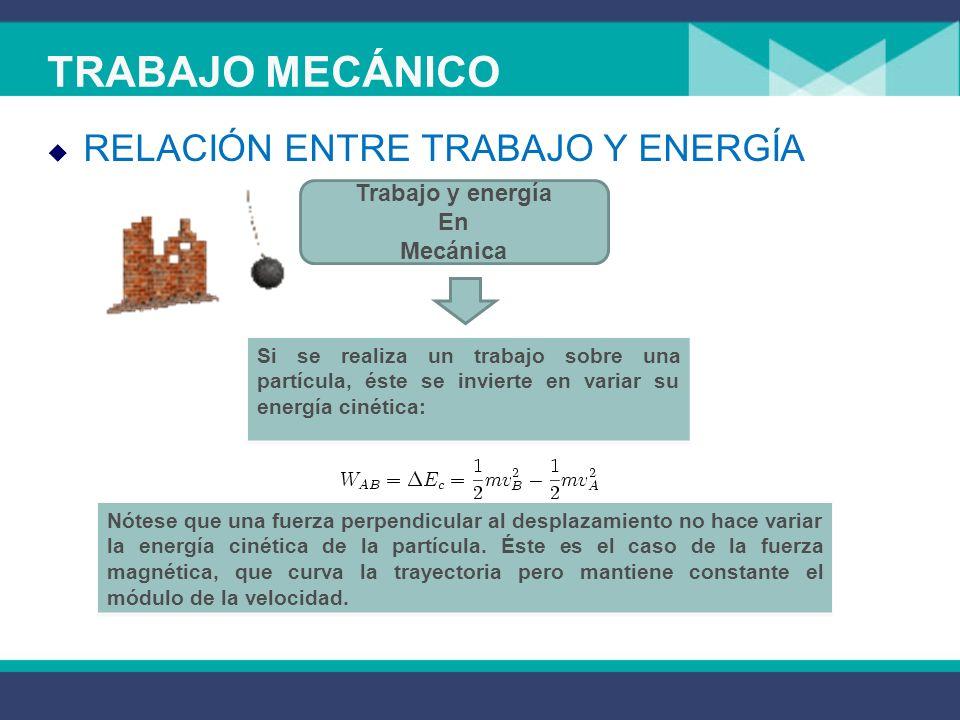 TRABAJO MECÁNICO RELACIÓN ENTRE TRABAJO Y ENERGÍA Trabajo y energía En Mecánica Si se realiza un trabajo sobre una partícula, éste se invierte en variar su energía cinética: Nótese que una fuerza perpendicular al desplazamiento no hace variar la energía cinética de la partícula.