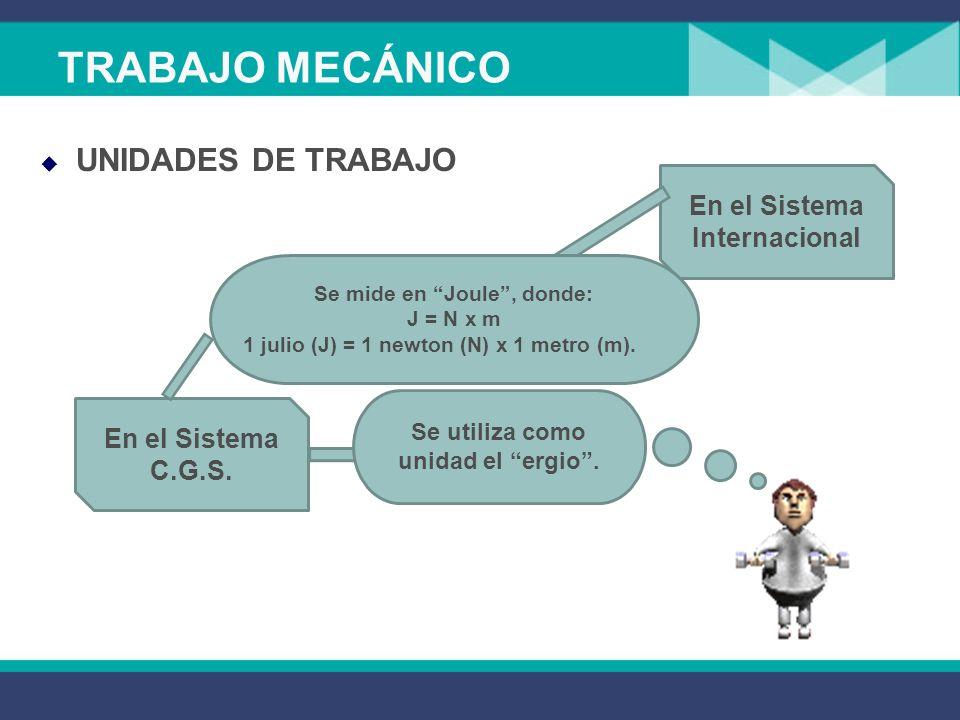 UNIDADES DE TRABAJO TRABAJO MECÁNICO En el Sistema Internacional En el Sistema C.G.S.