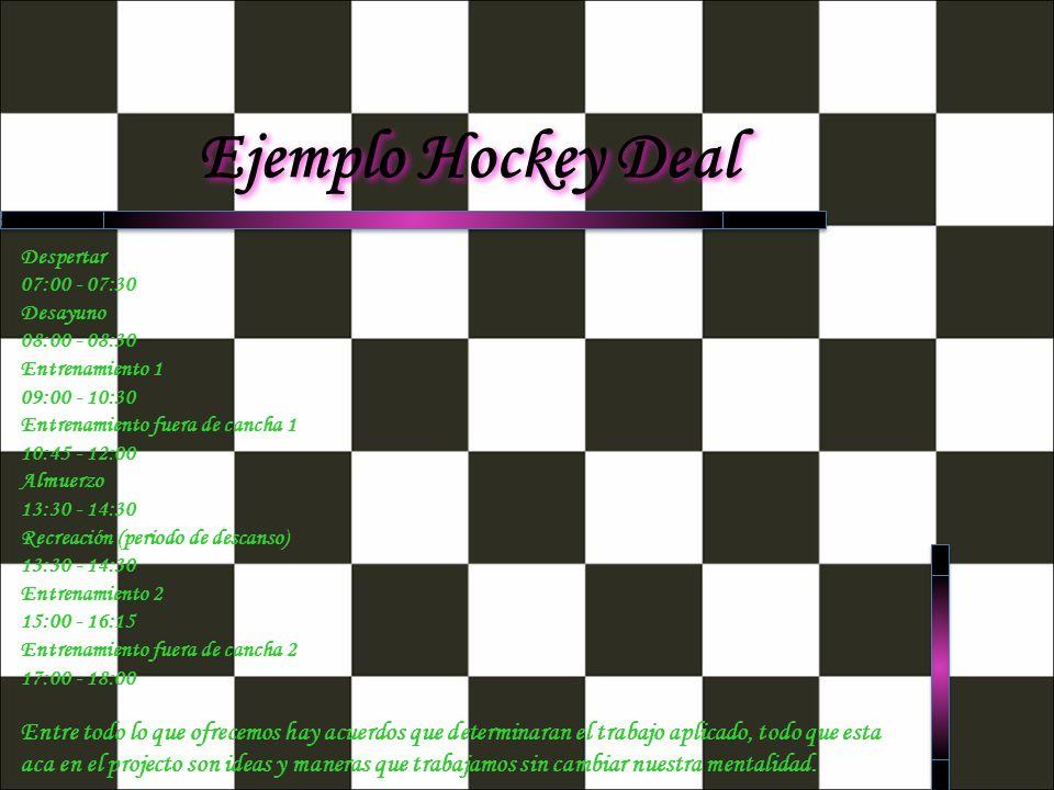 Ejemplo Hockey Deal Despertar 07:00 - 07:30 Desayuno 08:00 - 08:30 Entrenamiento 1 09:00 - 10:30 Entrenamiento fuera de cancha 1 10:45 - 12:00 Almuerz