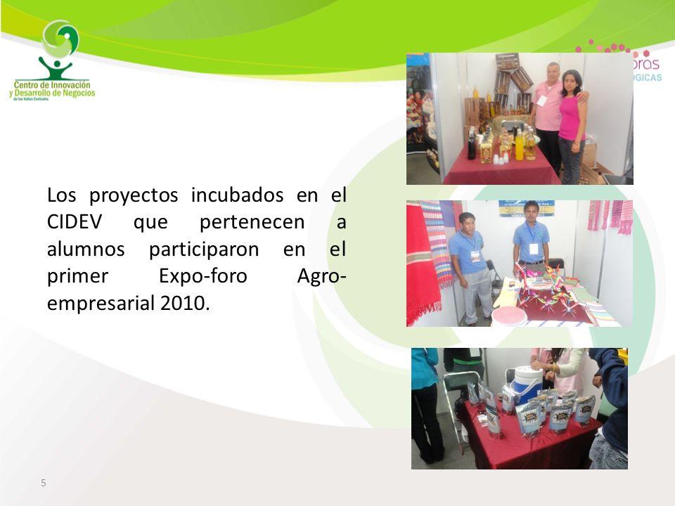 5 Los proyectos incubados en el CIDEV que pertenecen a alumnos participaron en el primer Expo-foro Agro- empresarial 2010.