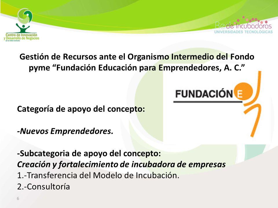 6 Gestión de Recursos ante el Organismo Intermedio del Fondo pyme Fundación Educación para Emprendedores, A.