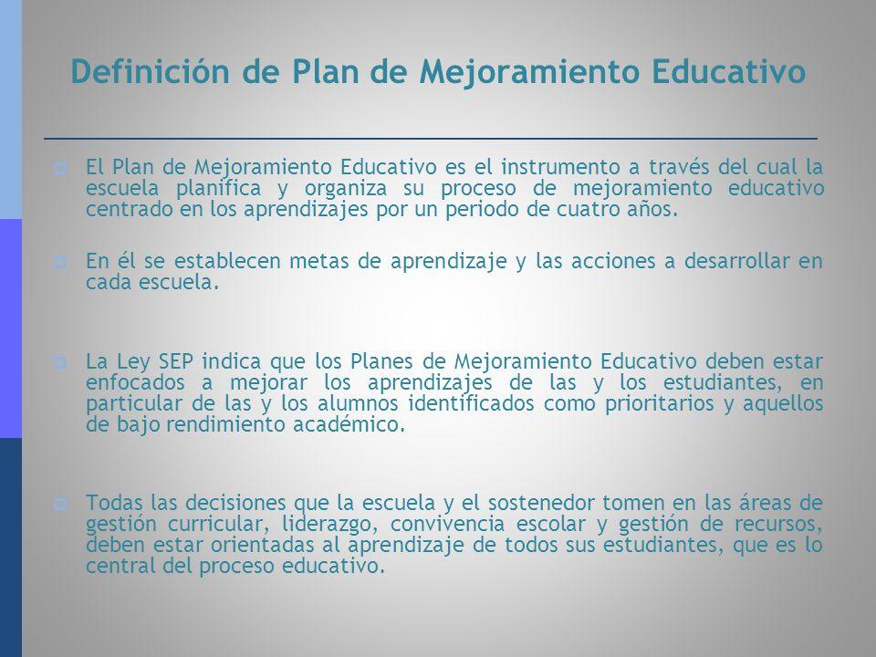 Definición de Plan de Mejoramiento Educativo El Plan de Mejoramiento Educativo es el instrumento a través del cual la escuela planifica y organiza su