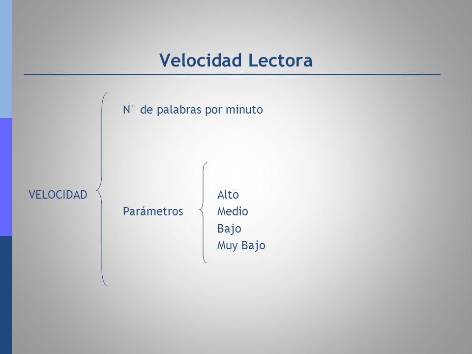 Velocidad Lectora N° de palabras por minuto VELOCIDADAlto ParámetrosMedio Bajo Muy Bajo