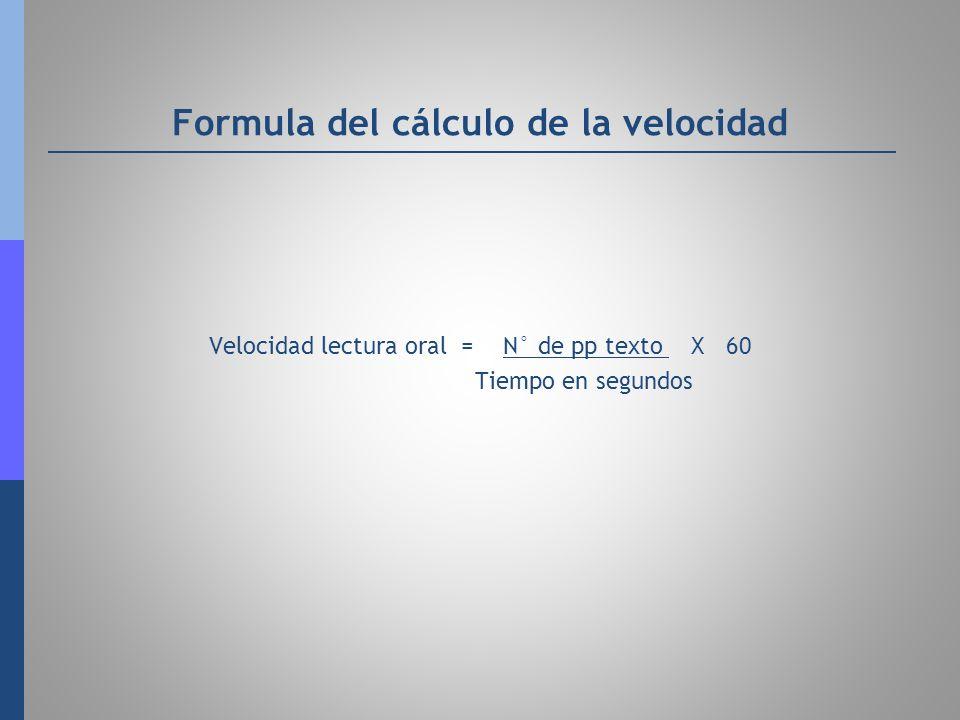 Formula del cálculo de la velocidad Velocidad lectura oral = N° de pp texto X 60 Tiempo en segundos