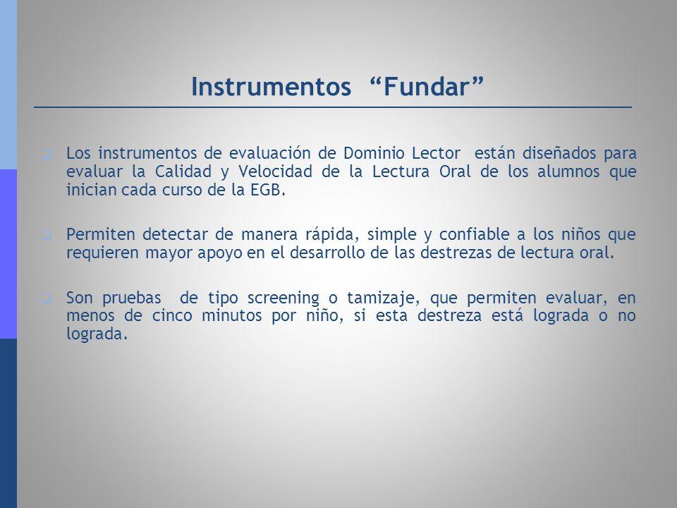 Instrumentos Fundar Los instrumentos de evaluación de Dominio Lector están diseñados para evaluar la Calidad y Velocidad de la Lectura Oral de los alu