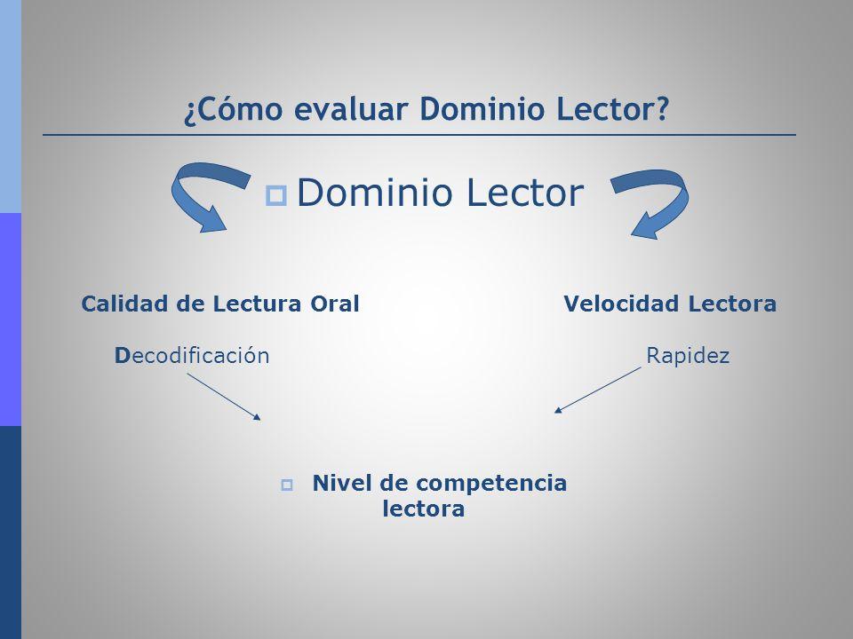 ¿Cómo evaluar Dominio Lector? Dominio Lector Calidad de Lectura Oral Velocidad Lectora Decodificación Rapidez Nivel de competencia lectora