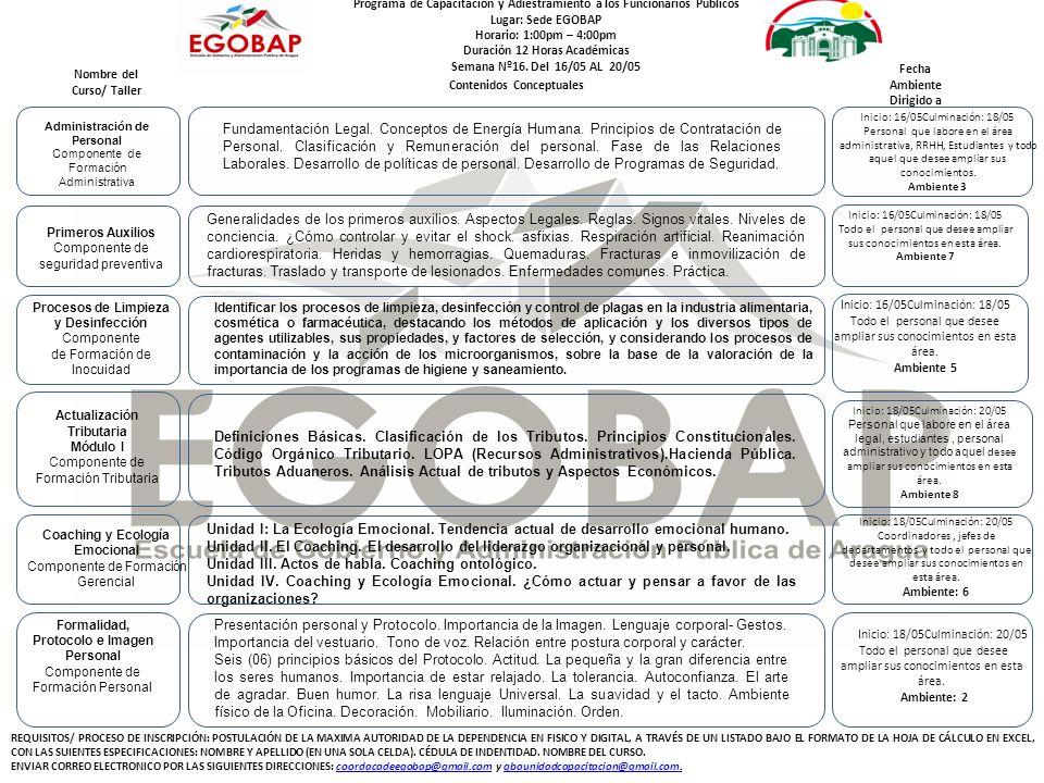 Programa de Capacitación y Adiestramiento a los Funcionarios Públicos Lugar: Sede EGOBAP Horario: 1:00pm – 4:00pm Duración 12 Horas Académicas Semana Nº16.