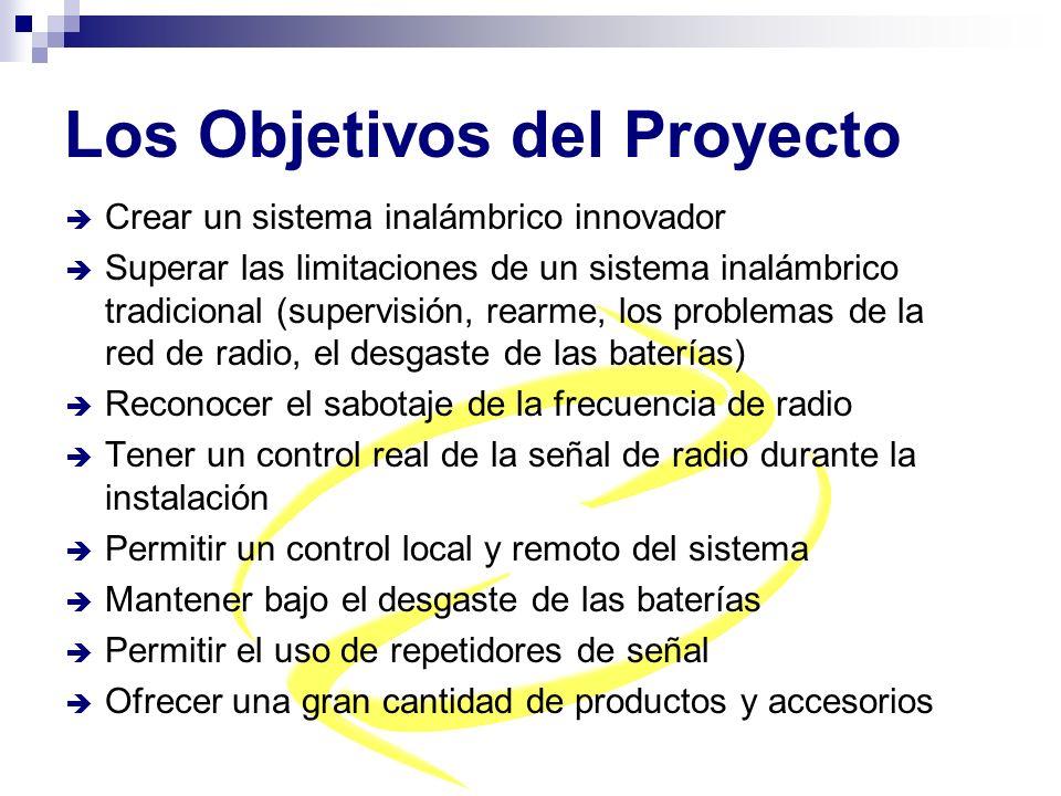 Los Objetivos del Proyecto Crear un sistema inalámbrico innovador Superar las limitaciones de un sistema inalámbrico tradicional (supervisión, rearme,