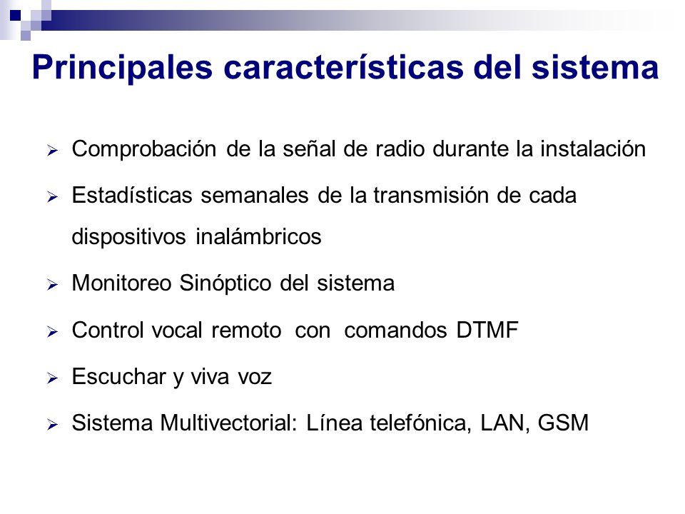 Principales características del sistema Comprobación de la señal de radio durante la instalación Estadísticas semanales de la transmisión de cada disp
