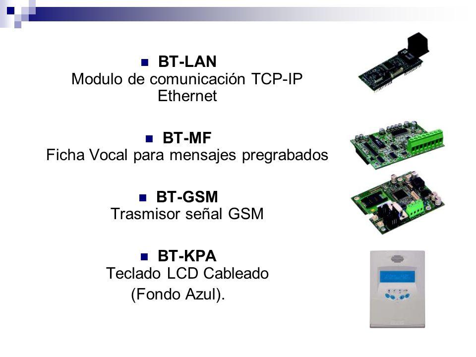 BT-LAN Modulo de comunicación TCP-IP Ethernet BT-MF Ficha Vocal para mensajes pregrabados BT-GSM Trasmisor señal GSM BT-KPA Teclado LCD Cableado (Fond