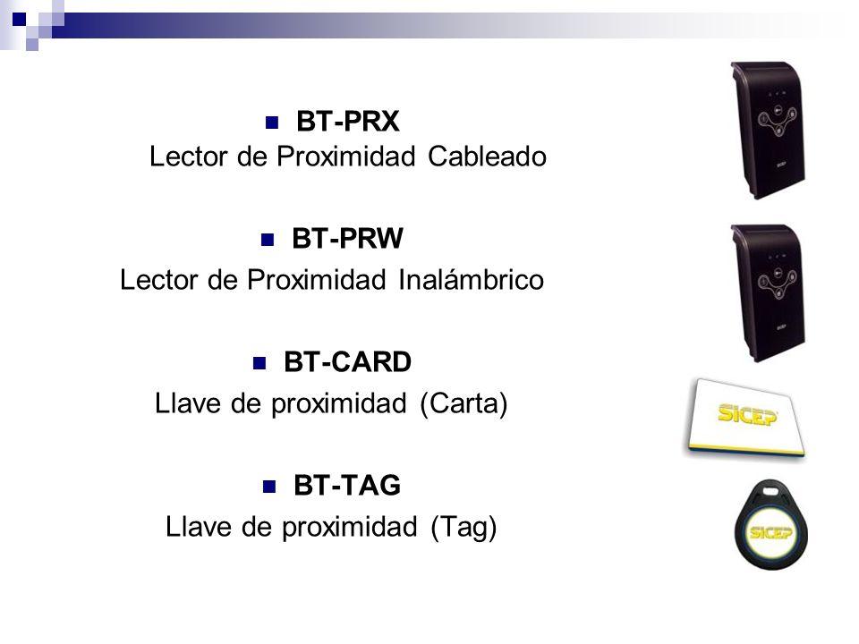 BT-PRX Lector de Proximidad Cableado BT-PRW Lector de Proximidad Inalámbrico BT-CARD Llave de proximidad (Carta) BT-TAG Llave de proximidad (Tag)