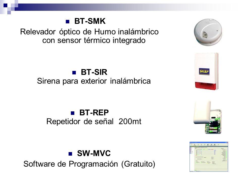 BT-SMK Relevador óptico de Humo inalámbrico con sensor térmico integrado BT-SIR Sirena para exterior inalámbrica BT-REP Repetidor de señal 200mt SW-MV