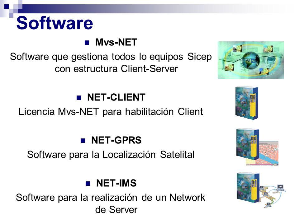 Mvs-NET Software que gestiona todos lo equipos Sicep con estructura Client-Server NET-CLIENT Licencia Mvs-NET para habilitación Client NET-GPRS Softwa