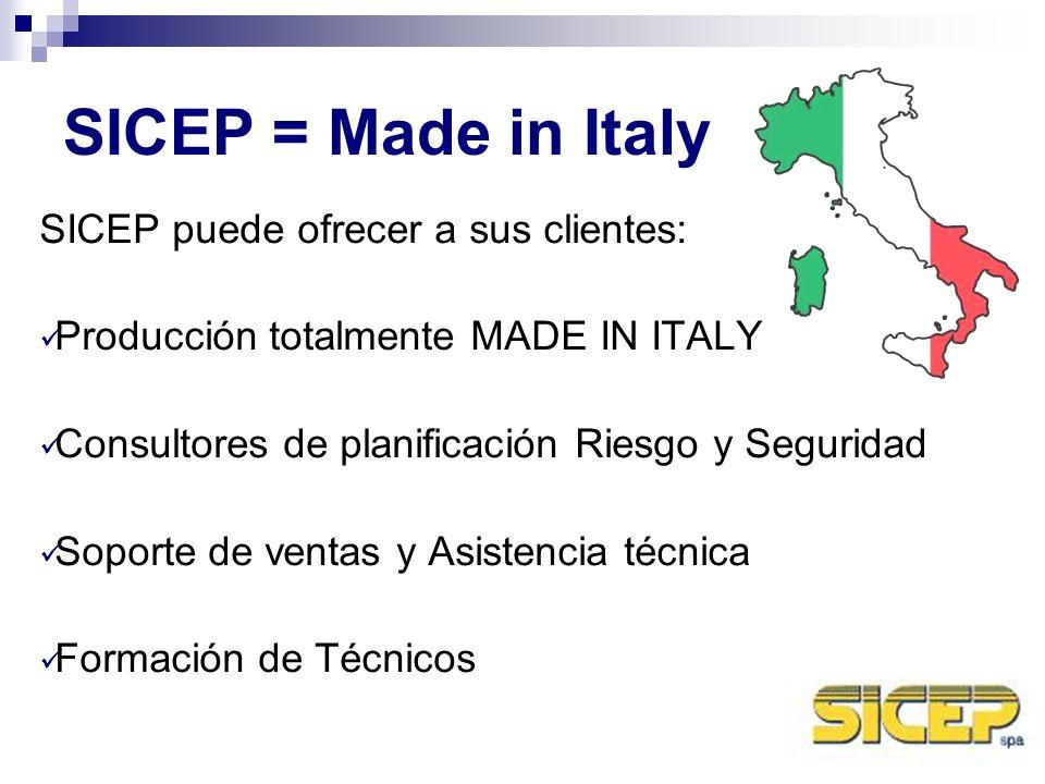SICEP = Made in Italy SICEP puede ofrecer a sus clientes: Producción totalmente MADE IN ITALY Consultores de planificación Riesgo y Seguridad Soporte