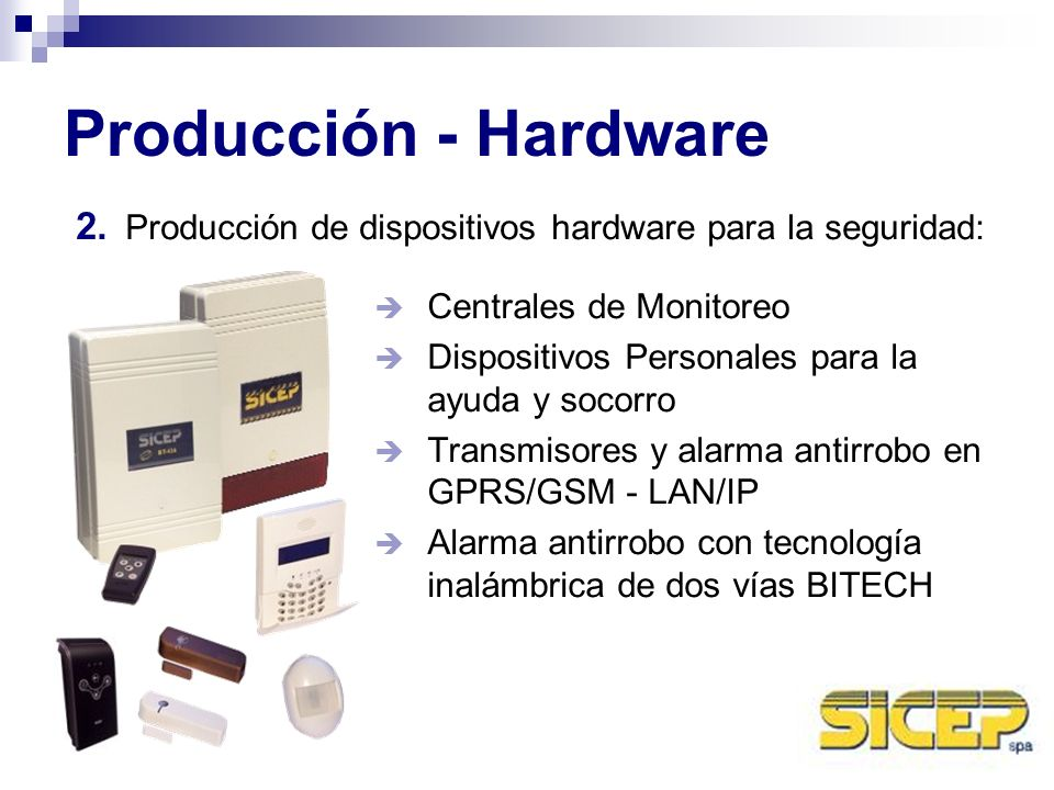 Producción - Hardware Transmisores y alarma en la frecuencia de radio (VHF y UHF) GPS de localización por satélite (Personales y vehiculares) Grabadores de vídeo digitales