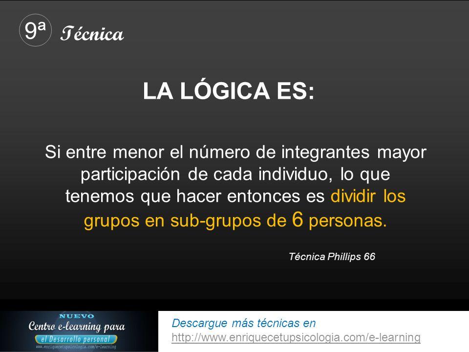 Descargue más técnicas en http://www.enriquecetupsicologia.com/e-learning http://www.enriquecetupsicologia.com/e-learning Si entre menor el número de