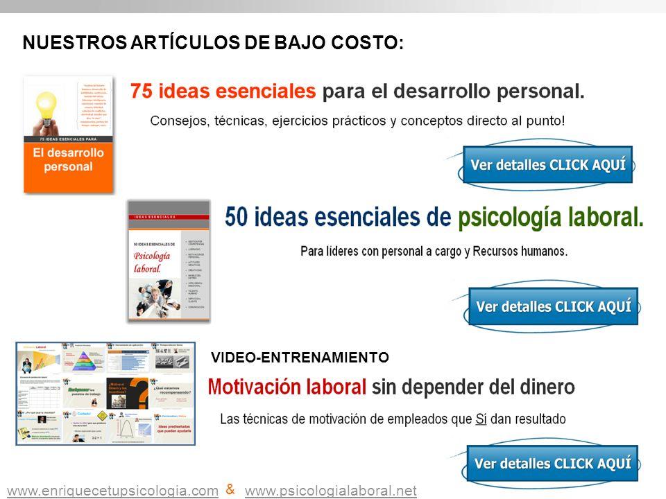 Vi NUESTROS ARTÍCULOS DE BAJO COSTO: SCENE VIDEO-ENTRENAMIENTO www.enriquecetupsicologia.com & www.psicologialaboral.net