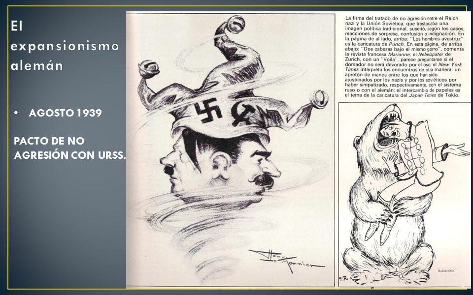 AGOSTO 1939: PACTO DE NO AGRESIÓN CON URSS.