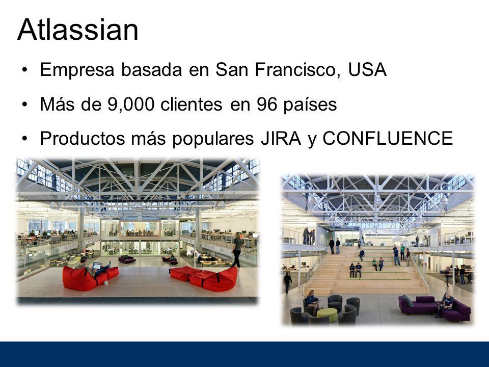 Atlassian Empresa basada en San Francisco, USA Más de 9,000 clientes en 96 países Productos más populares JIRA y CONFLUENCE