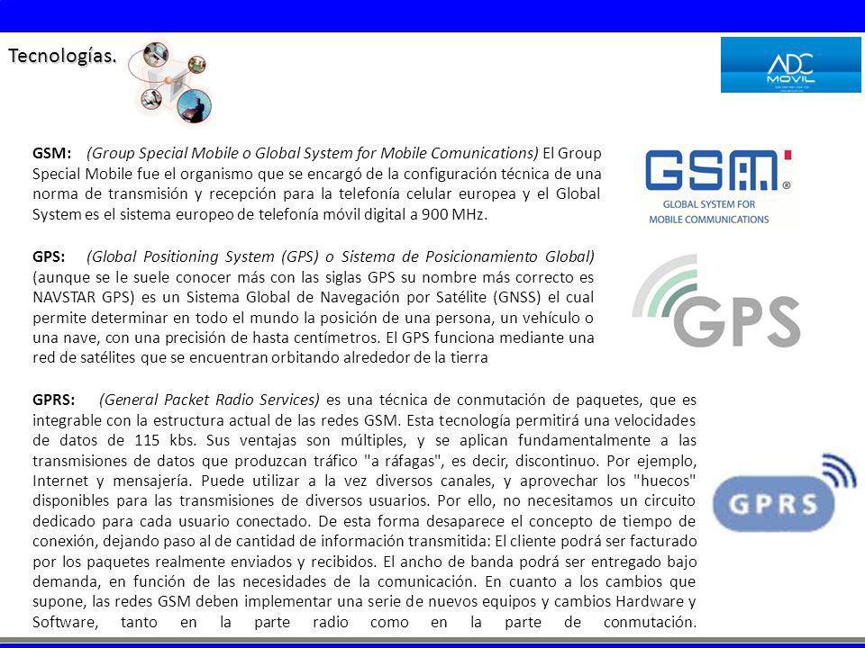 Tecnologías. GSM: (Group Special Mobile o Global System for Mobile Comunications) El Group Special Mobile fue el organismo que se encargó de la config