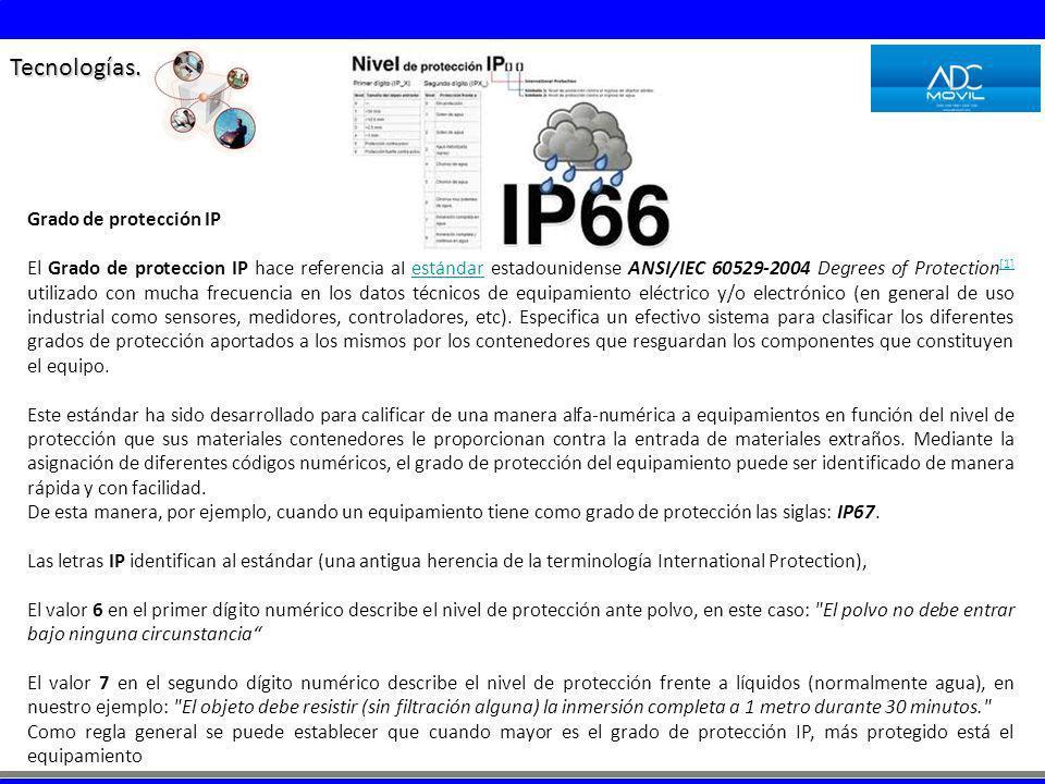 Tecnologías. Grado de protección IP El Grado de proteccion IP hace referencia al estándar estadounidense ANSI/IEC 60529-2004 Degrees of Protection [1]