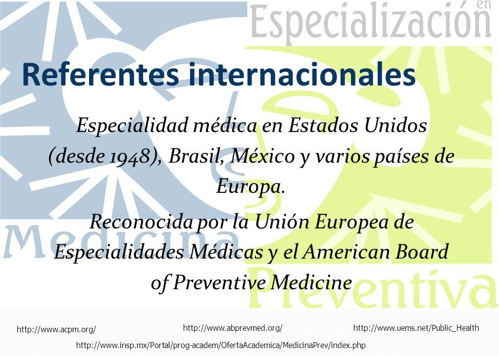 Referentes internacionales Especialidad médica en Estados Unidos (desde 1948), Brasil, México y varios países de Europa. Reconocida por la Unión Europ