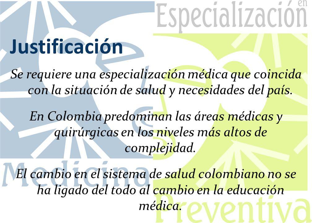 Justificación Se requiere una especialización médica que coincida con la situación de salud y necesidades del país. En Colombia predominan las áreas m