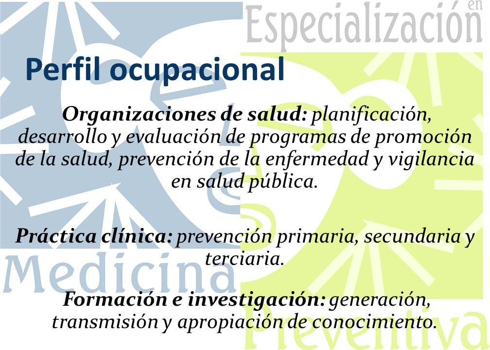 Perfil ocupacional Organizaciones de salud: planificación, desarrollo y evaluación de programas de promoción de la salud, prevención de la enfermedad y vigilancia en salud pública.